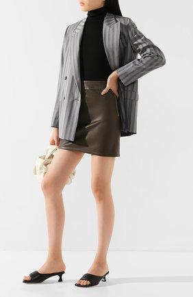 Женская кожаная юбка HELMUT LANG хаки цвета, арт. K01HW305 | Фото 2
