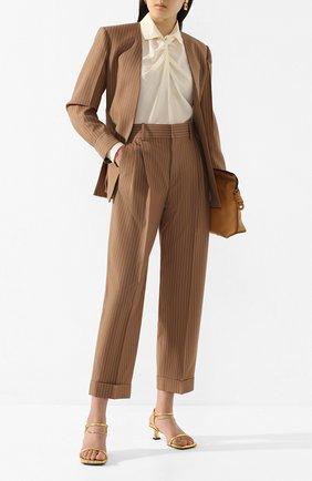 Женские шерстяные брюки CHLOÉ коричневого цвета, арт. CHC20UPA18063 | Фото 2