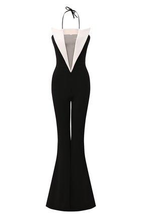 Женский комбинезон из вискозы BALMAIN черно-белого цвета, арт. TF05348/J017 | Фото 1