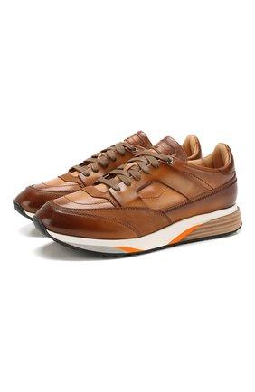 Мужские кожаные кроссовки SANTONI коричневого цвета, арт. MBEN21316BGAMG0DM40   Фото 1