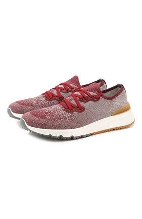 Мужские текстильные кроссовки BRUNELLO CUCINELLI бордового цвета, арт. MZUKIS0250 | Фото 1