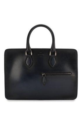 Мужской кожаный портфель BERLUTI темно-синего цвета, арт. M197171   Фото 1