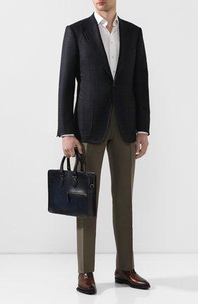 Мужской кожаный портфель BERLUTI темно-синего цвета, арт. M197171   Фото 2