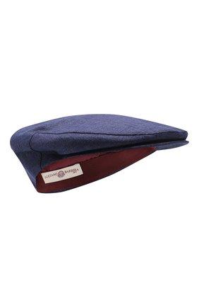 Мужская кепи из смеси льна и шерсти LUCIANO BARBERA синего цвета, арт. 128001/17302 | Фото 1