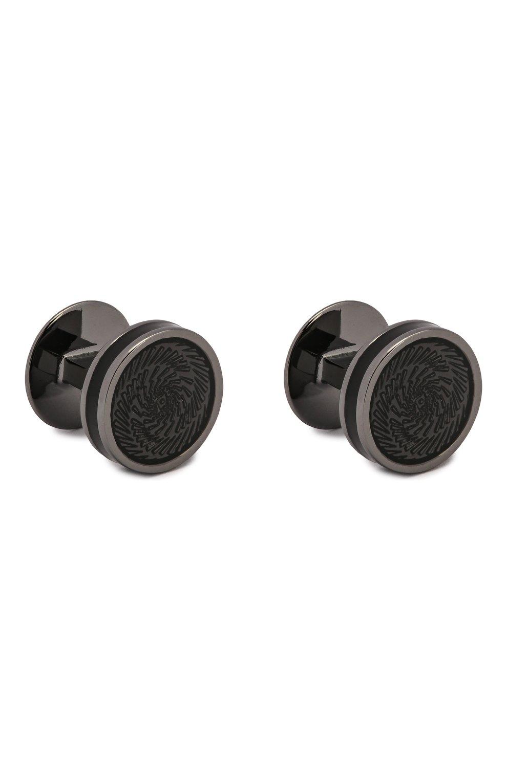 Мужские комплект из запонок и пуговиц TATEOSSIAN черного цвета, арт. SC0266 | Фото 4 (Стили: Классический; Материал: Металл)