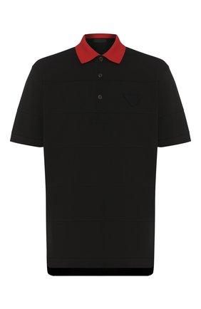 Мужское хлопковое поло PRADA черного цвета, арт. UJN653-1WK1-F0N98-201   Фото 1