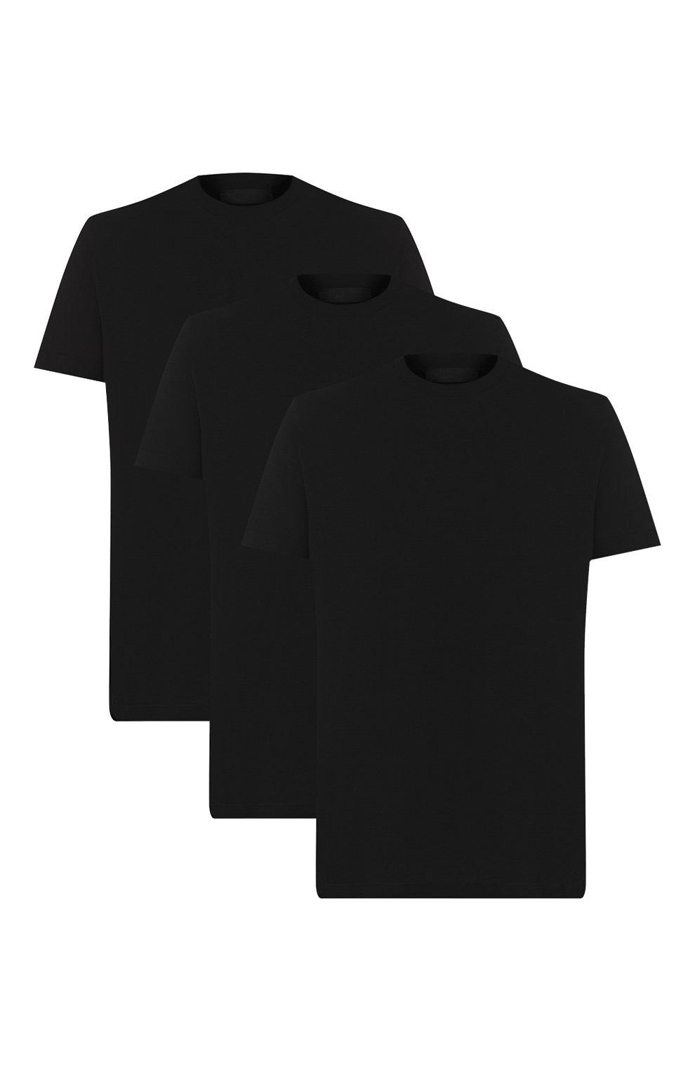 Мужская комплект из трех хлопковых футболок PRADA черного цвета, арт. UJM492-ILK-F0002-181   Фото 1 (Принт: Без принта; Рукава: Короткие; Длина (для топов): Стандартные; Материал внешний: Хлопок; Стили: Кэжуэл)