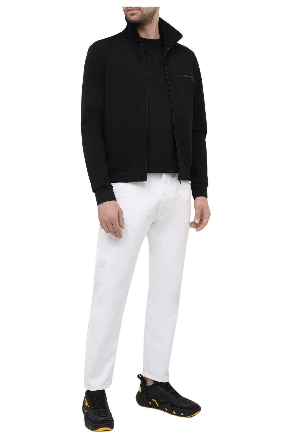 Мужская комплект из трех хлопковых футболок PRADA черного цвета, арт. UJM492-ILK-F0002-181   Фото 2 (Принт: Без принта; Рукава: Короткие; Длина (для топов): Стандартные; Материал внешний: Хлопок; Стили: Кэжуэл)