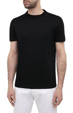 Мужская комплект из трех хлопковых футболок PRADA черного цвета, арт. UJM492-ILK-F0002-181   Фото 3 (Принт: Без принта; Рукава: Короткие; Длина (для топов): Стандартные; Материал внешний: Хлопок; Стили: Кэжуэл)