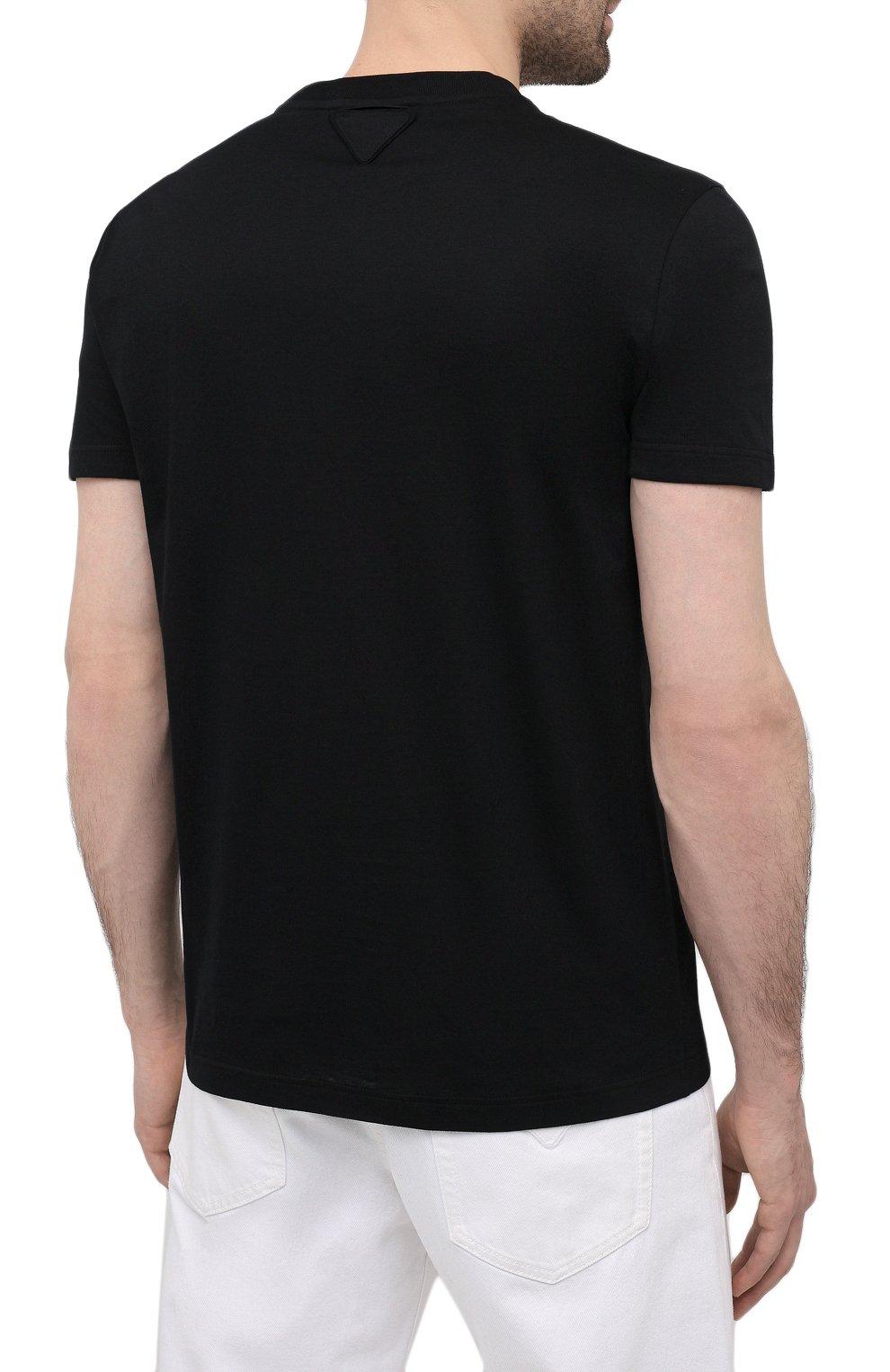 Мужская комплект из трех хлопковых футболок PRADA черного цвета, арт. UJM492-ILK-F0002-181   Фото 4 (Принт: Без принта; Рукава: Короткие; Длина (для топов): Стандартные; Материал внешний: Хлопок; Стили: Кэжуэл)