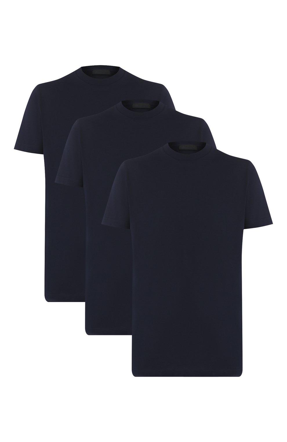 Мужская комплект из трех хлопковых футболок PRADA синего цвета, арт. UJM492-ILK-F0124-181   Фото 1 (Принт: Без принта; Рукава: Короткие; Длина (для топов): Стандартные; Материал внешний: Хлопок; Стили: Кэжуэл)