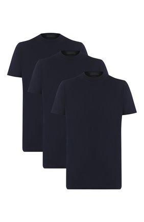Мужская комплект из трех хлопковых футболок PRADA синего цвета, арт. UJM492-ILK-F0124-181 | Фото 1