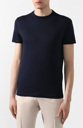 Мужская комплект из трех хлопковых футболок PRADA синего цвета, арт. UJM492-ILK-F0124-181   Фото 3 (Принт: Без принта; Рукава: Короткие; Длина (для топов): Стандартные; Материал внешний: Хлопок; Стили: Кэжуэл)