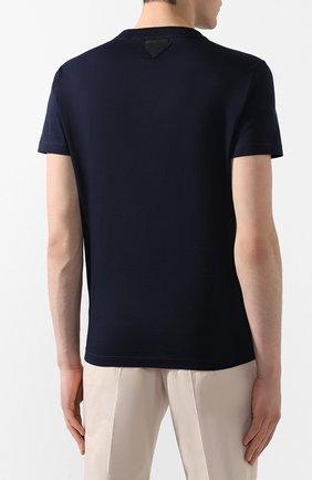 Мужская комплект из трех хлопковых футболок PRADA синего цвета, арт. UJM492-ILK-F0124-181   Фото 4 (Принт: Без принта; Рукава: Короткие; Длина (для топов): Стандартные; Материал внешний: Хлопок; Стили: Кэжуэл)