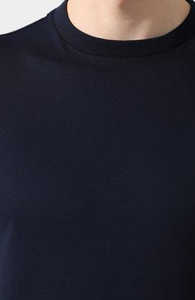 Мужская комплект из трех хлопковых футболок PRADA синего цвета, арт. UJM492-ILK-F0124-181   Фото 5 (Принт: Без принта; Рукава: Короткие; Длина (для топов): Стандартные; Материал внешний: Хлопок; Стили: Кэжуэл)