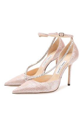 Женская текстильные туфли talika 100 JIMMY CHOO розового цвета, арт. TALIKA 100/GFY | Фото 1
