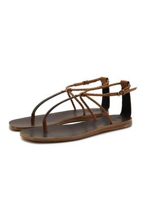 Женские кожаные сандалии BRUNELLO CUCINELLI коричневого цвета, арт. MZBSC1773   Фото 1