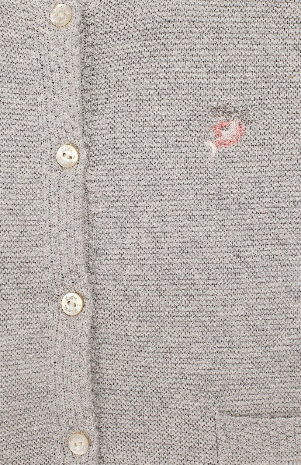 Детский хлопковый кардиган TARTINE ET CHOCOLAT серого цвета, арт. TQ18021/18M-3A   Фото 3 (Рукава: Длинные; Материал внешний: Хлопок; Ростовка одежда: 18 мес   86 см, 24 мес   92 см, 36 мес   98 см)