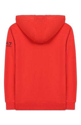 Детский хлопковое худи EA 7 красного цвета, арт. 3HBM62/BJ05Z | Фото 2