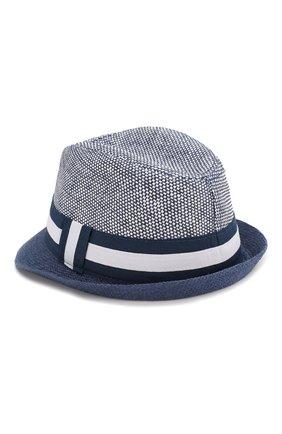 Детская соломенная шляпа CATYA синего цвета, арт. 014010 | Фото 2 (Материал: Растительное волокно)
