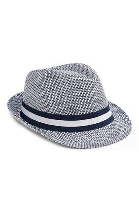 Детская соломенная шляпа CATYA синего цвета, арт. 014011 | Фото 1 (Материал: Растительное волокно)