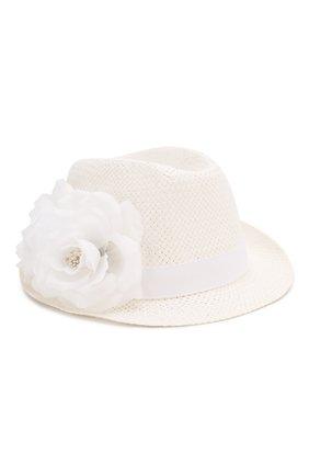 Детская соломенная шляпа CATYA белого цвета, арт. 014015 | Фото 1