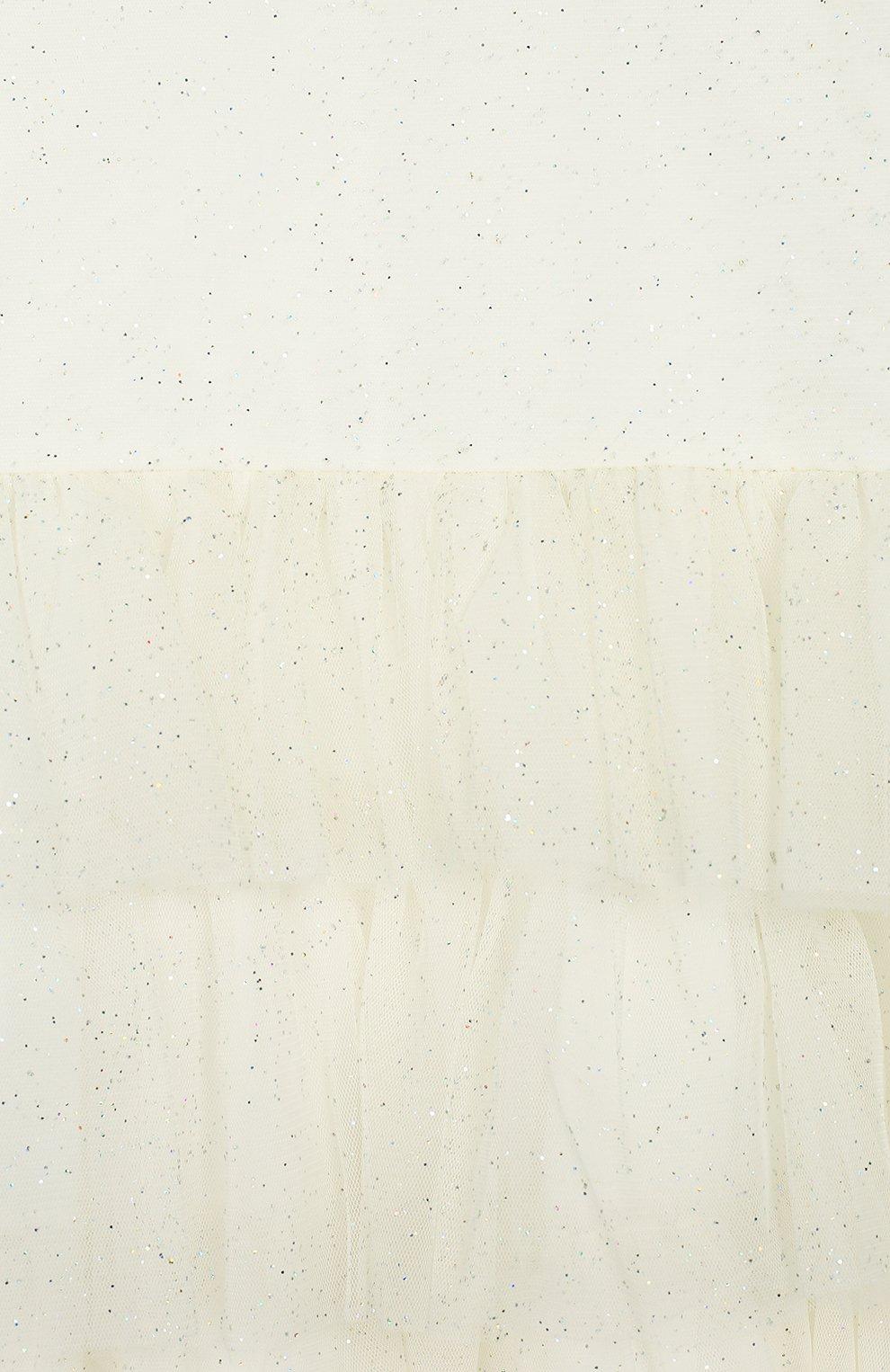 Детское платье DOUUOD бежевого цвета, арт. 20E/U/JR/AB20/3780/4A-8A | Фото 3 (Случай: Вечерний; Рукава: Короткие; Материал внешний: Синтетический материал; Девочки Кросс-КТ: Платье-одежда; Материал подклада: Хлопок)