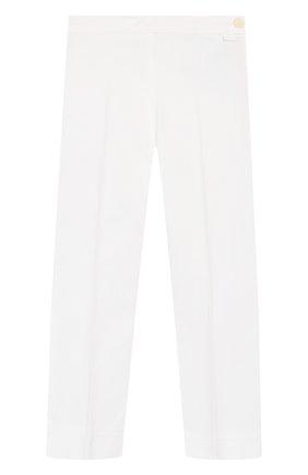 Детского хлопковые брюки IL GUFO белого цвета, арт. P20PR004C6002/5A-8A | Фото 1