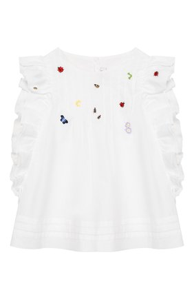 Детский хлопковый топ IL GUFO белого цвета, арт. P20CC064C0050/5A-8A | Фото 1