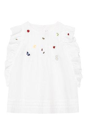 Детский хлопковый топ IL GUFO белого цвета, арт. P20CC064C0050/2A-4A | Фото 1