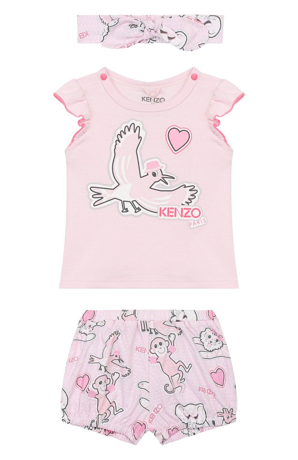 Детский комплект из 3-х предметов KENZO розового цвета, арт. KQ99003   Фото 1