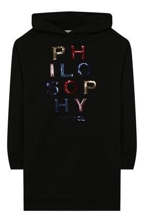 Детское хлопковое платье PHILOSOPHY DI LORENZO SERAFINI KIDS черного цвета, арт. PJAB69/FE144/VH004/S-M | Фото 1