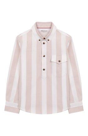 Детская хлопковая рубашка BRUNELLO CUCINELLI бежевого цвета, арт. BW613C320A   Фото 1