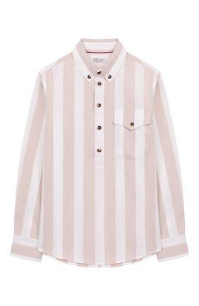 Детская хлопковая рубашка BRUNELLO CUCINELLI бежевого цвета, арт. BW613C320B | Фото 1