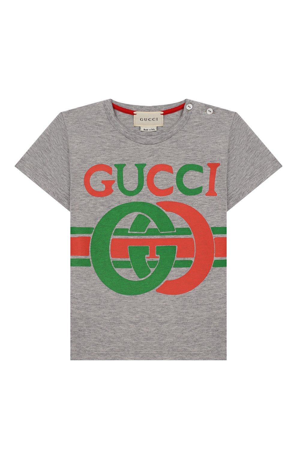 Детский хлопковая футболка GUCCI серого цвета, арт. 548034/XJBCG   Фото 1