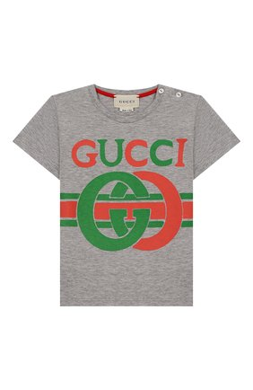 Детский хлопковая футболка GUCCI серого цвета, арт. 548034/XJBCG | Фото 1