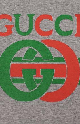 Детский хлопковая футболка GUCCI серого цвета, арт. 548034/XJBCG   Фото 3