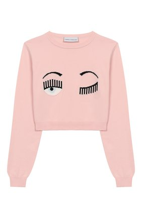 Детский хлопковый пуловер CHIARA FERRAGNI розового цвета, арт. 20PE-CFKJM003 | Фото 1