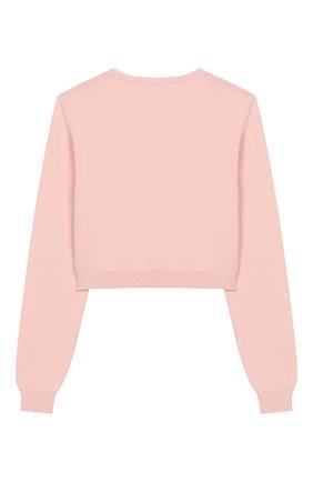 Детский хлопковый пуловер CHIARA FERRAGNI розового цвета, арт. 20PE-CFKJM003 | Фото 2