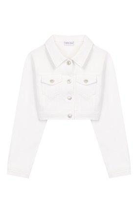 Детская укороченная куртка из денима CHIARA FERRAGNI белого цвета, арт. 20PE-CFKJSH003 | Фото 1