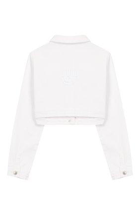 Детская укороченная куртка из денима CHIARA FERRAGNI белого цвета, арт. 20PE-CFKJSH003 | Фото 2