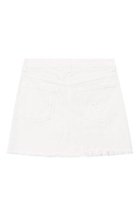 Детская джинсовая юбка CHIARA FERRAGNI белого цвета, арт. 20PE-CFKST002 | Фото 2