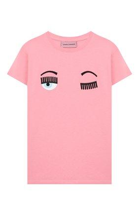Детская хлопковая футболка CHIARA FERRAGNI розового цвета, арт. 20PE-CFKT005 | Фото 1