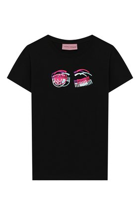 Детская хлопковая футболка CHIARA FERRAGNI черного цвета, арт. 20PE-CFKT014 | Фото 1
