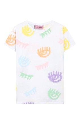 Детская хлопковая футболка CHIARA FERRAGNI белого цвета, арт. 20PE-CFKT016 | Фото 1