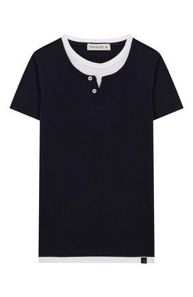 Детская хлопковая футболка MANUEL RITZ синего цвета, арт. MR1052/2A-6A | Фото 1