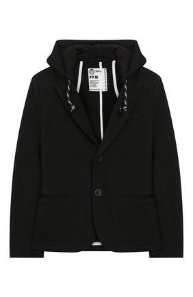 Детский хлопковый пиджак PAOLO PECORA MILANO черного цвета, арт. PP2331/14A-16A | Фото 1