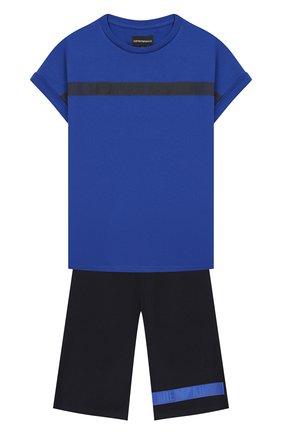 Детского комплект из футболки и шорт EMPORIO ARMANI синего цвета, арт. 3H4VJA/1J00Z   Фото 1