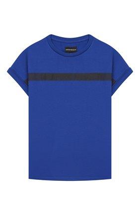 Детского комплект из футболки и шорт EMPORIO ARMANI синего цвета, арт. 3H4VJA/1J00Z   Фото 2
