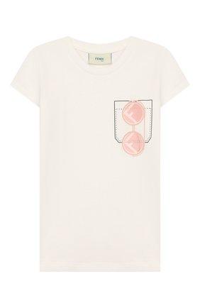 Детская хлопковая футболка FENDI белого цвета, арт. JFI188/7AJ/8A-12+ | Фото 1